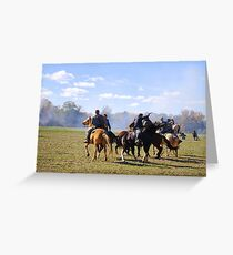 Fighting it Out On Horseback Greeting Card