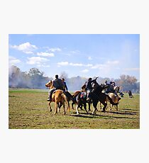 Fighting it Out On Horseback Photographic Print
