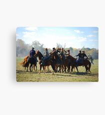 Fighting it Out On Horseback 2 Canvas Print