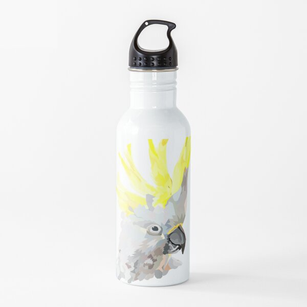 Sulphur crested cockatoo- navy blue background Geometric Art Low Poly Water Bottle