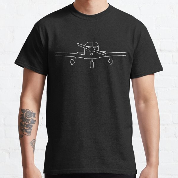 Piper PA28 Cherokee light aircraft outline graphic (white) Classic T-Shirt