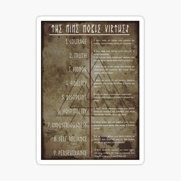Nine Noble Virtues   Noble virtues of the warrior, asatru Sticker