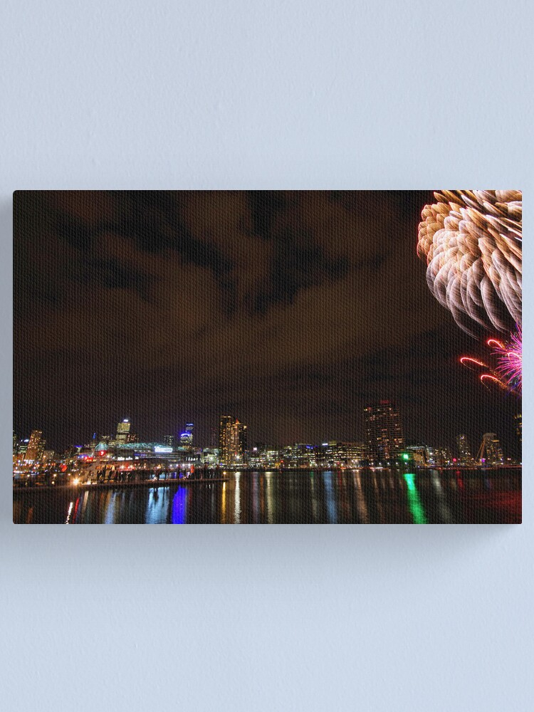 Alternate view of Fireworks over the water Canvas Print