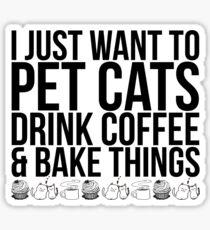 Pet Cats, Drink Coffee Sticker