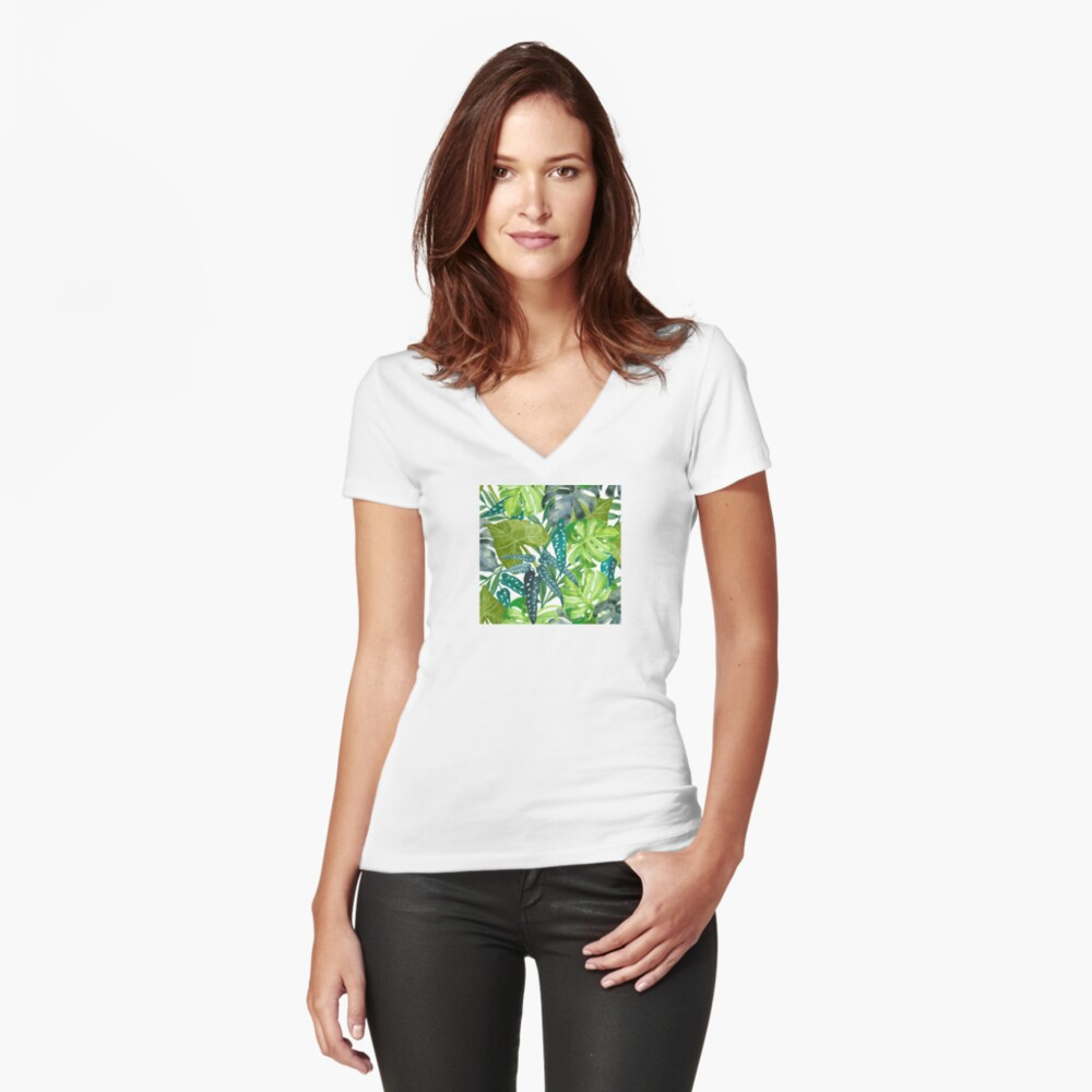 Tropical  Leaves Fitted V-Neck T-Shirt