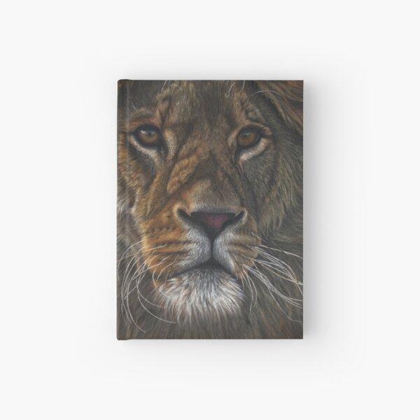 Valiant African male lion pastel portrait Hardcover Journal