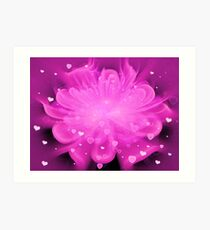 Pink Champagne Hearts Art Print