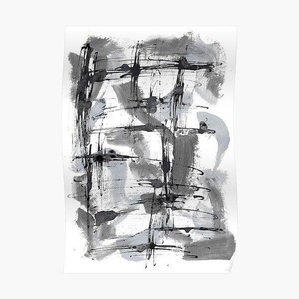 Abstrait gris et noir Poster