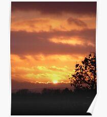Burnt Sunset at Melton  Poster