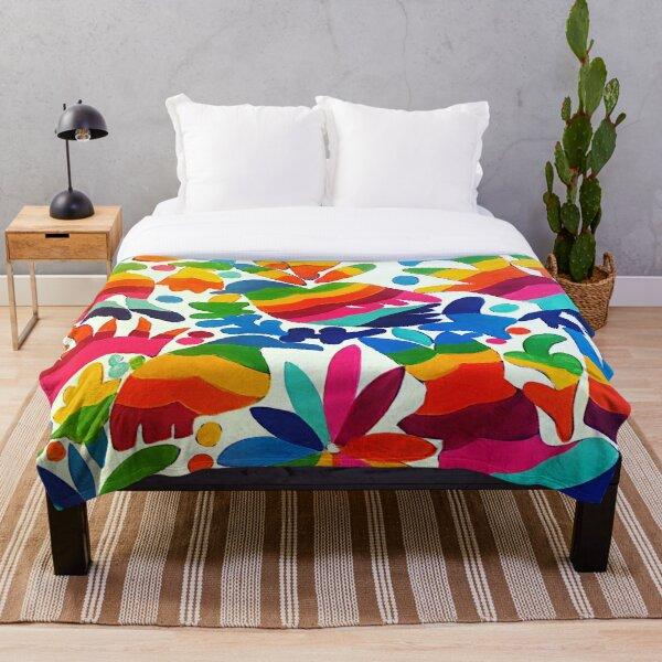 Mexican Otomi Colors Throw Blanket