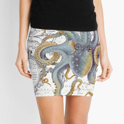 Octopus Steel Blue Vintage Map Watercolor Ink Art Mini Skirt