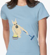 Deutsche Dogge Curling Tailliertes T-Shirt für Frauen