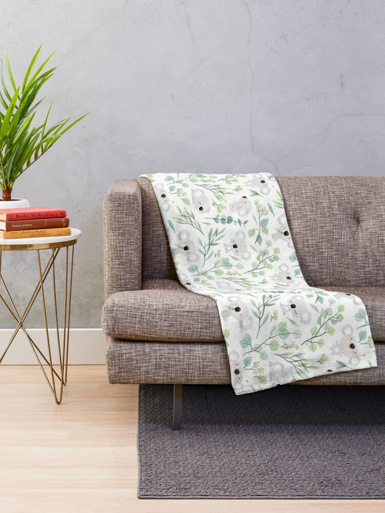 Alternate view of Koala and Eucalyptus Pattern Throw Blanket