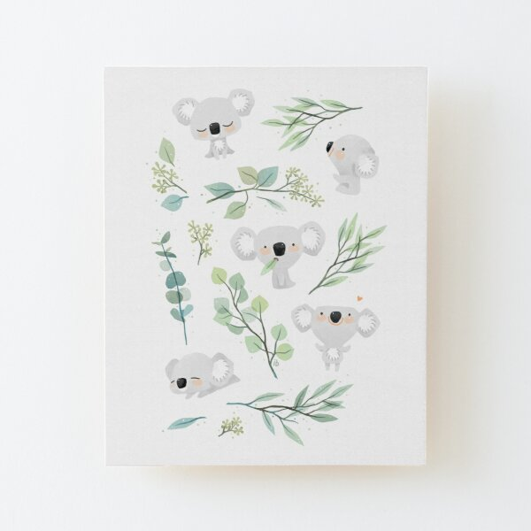Koala and Eucalyptus Pattern Wood Mounted Print