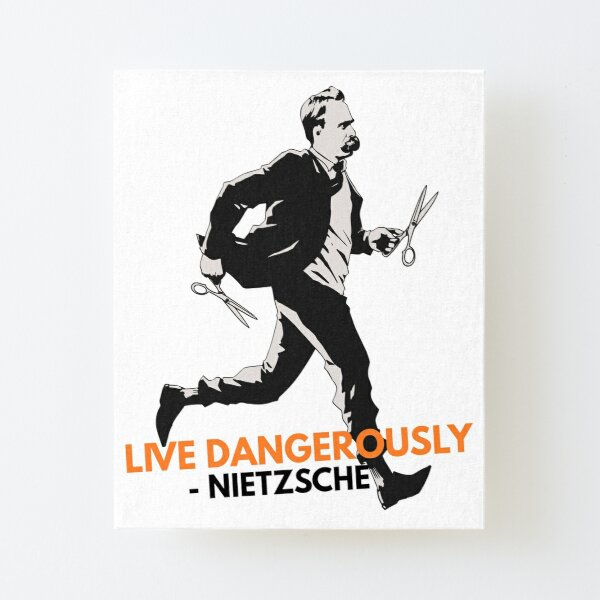 """corre con tijeras. """"- Friedrich Nietzsche. Un diseño y una obra de arte originales de PhilosophyShirts.com. Vive peligrosamente con esta obra humorística sobre la famosa cita de Nietzsche. Lámina montada de lienzo"""