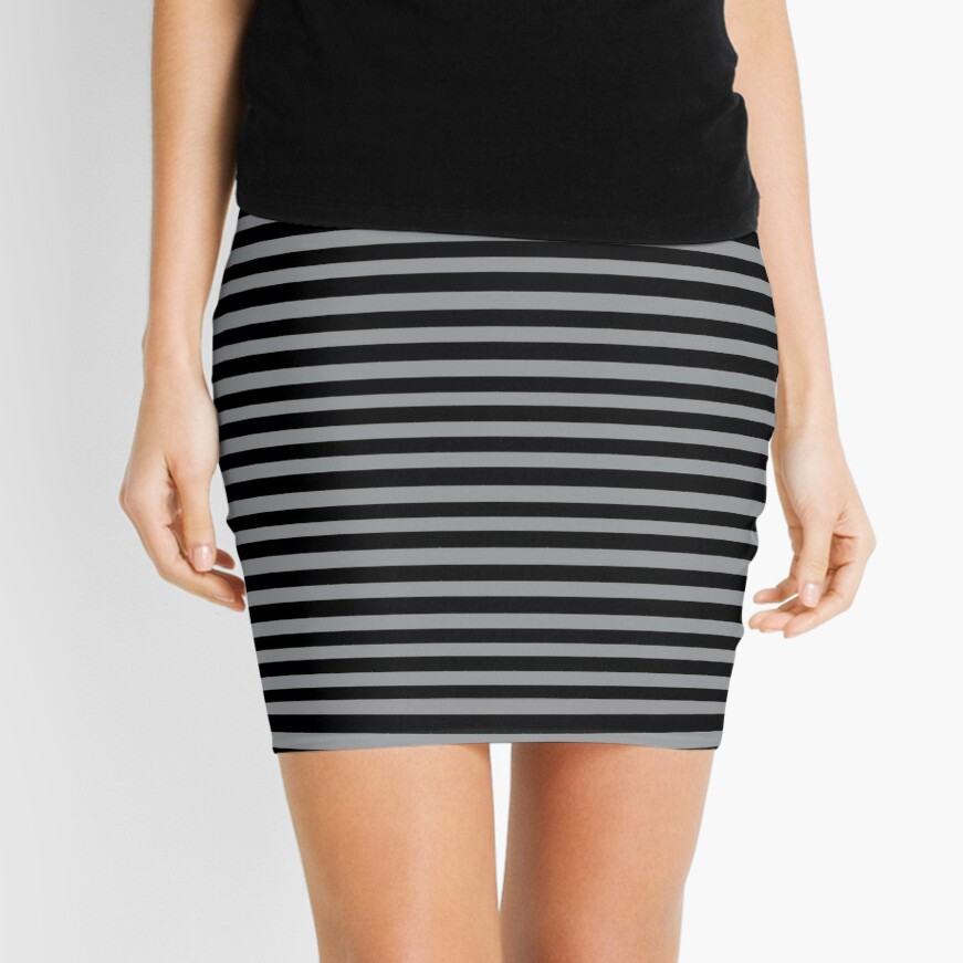 Black and Grey horizontal stripes - Classic striped pattern by Cecca Designs Mini Skirt