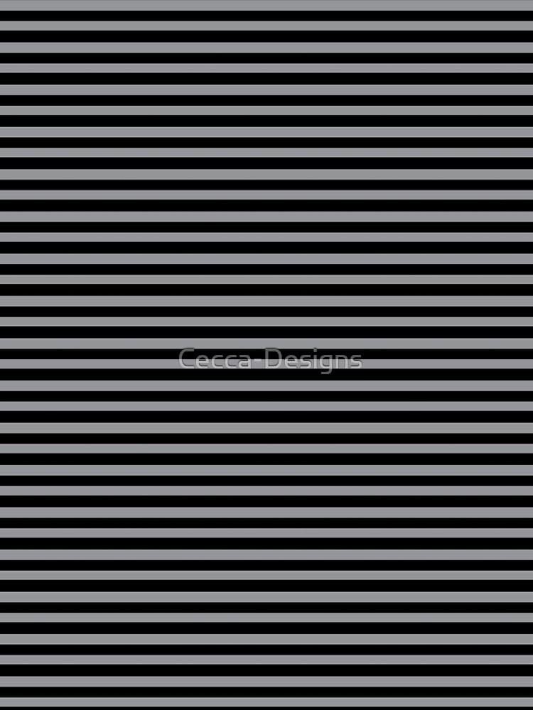 Black and Grey horizontal stripes - Classic striped pattern by Cecca Designs by Cecca-Designs