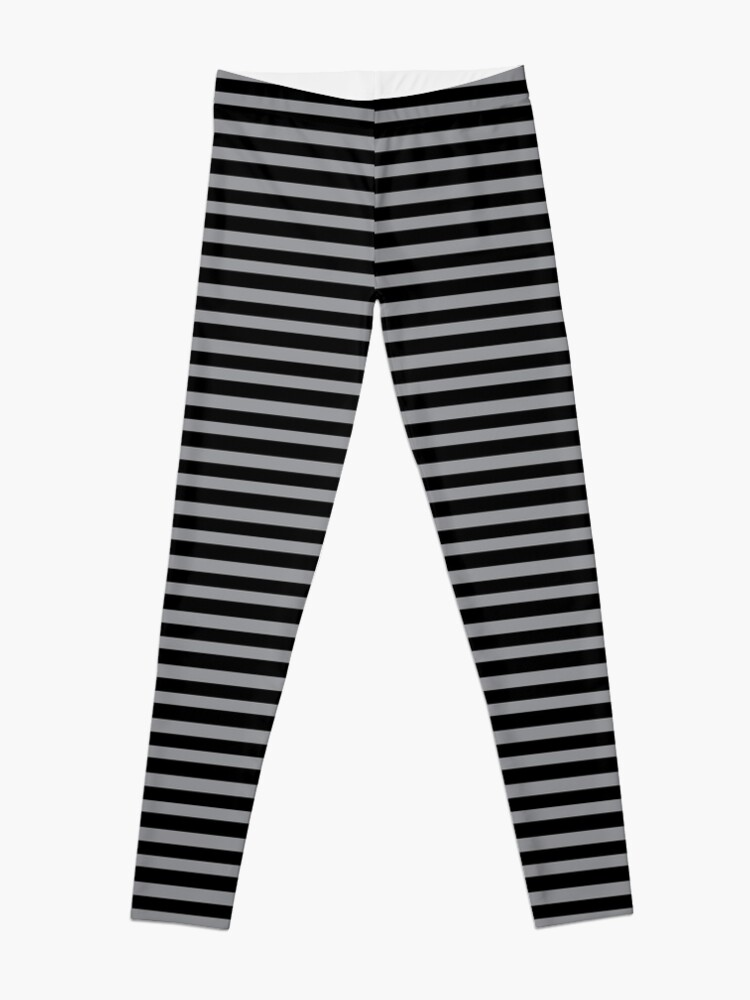 Alternate view of Black and Grey horizontal stripes - Classic striped pattern by Cecca Designs Leggings