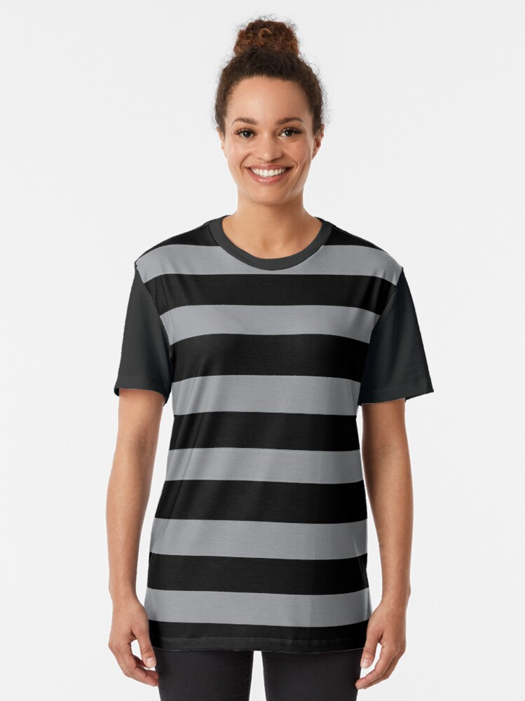 Alternate view of Black and Grey horizontal stripes - Classic striped pattern by Cecca Designs Graphic T-Shirt
