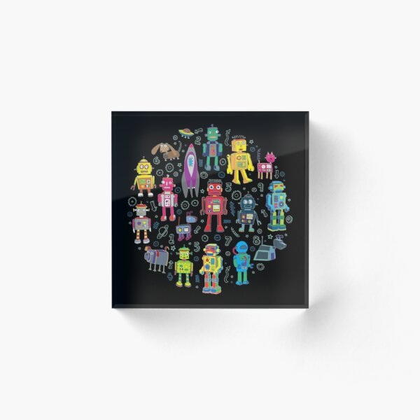 Robots in Space - black - fun pattern by Cecca Designs Acrylic Block