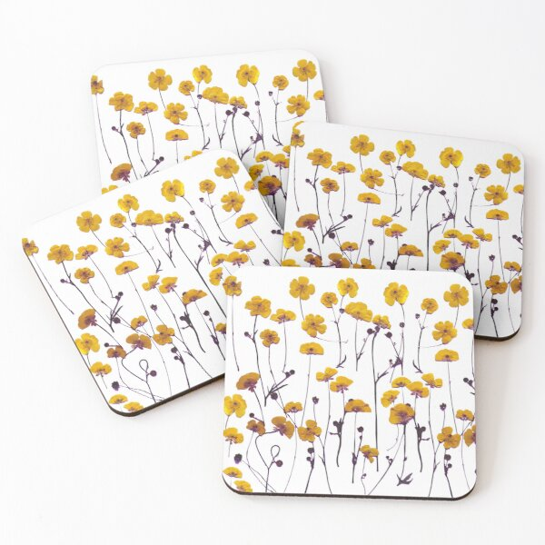 Yellow Buttercups, Floral Coasters (Set of 4)
