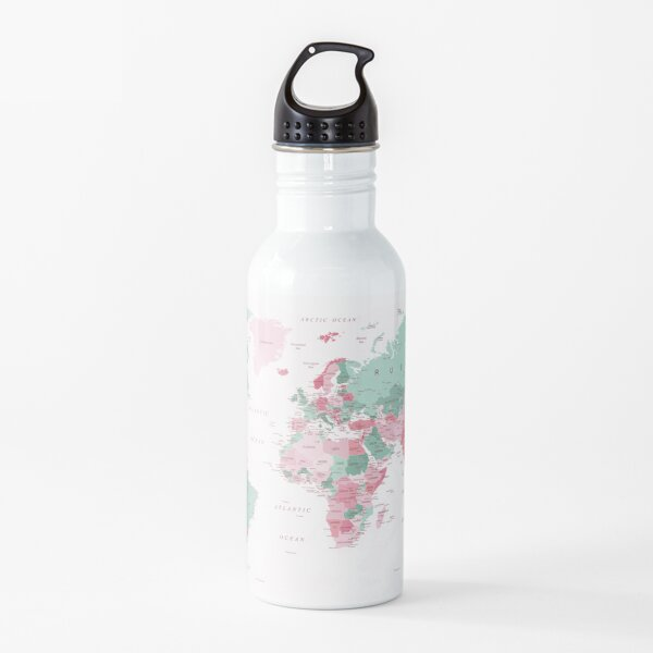 Map of the World Map of the World in Pink and Mint Green Water Bottle