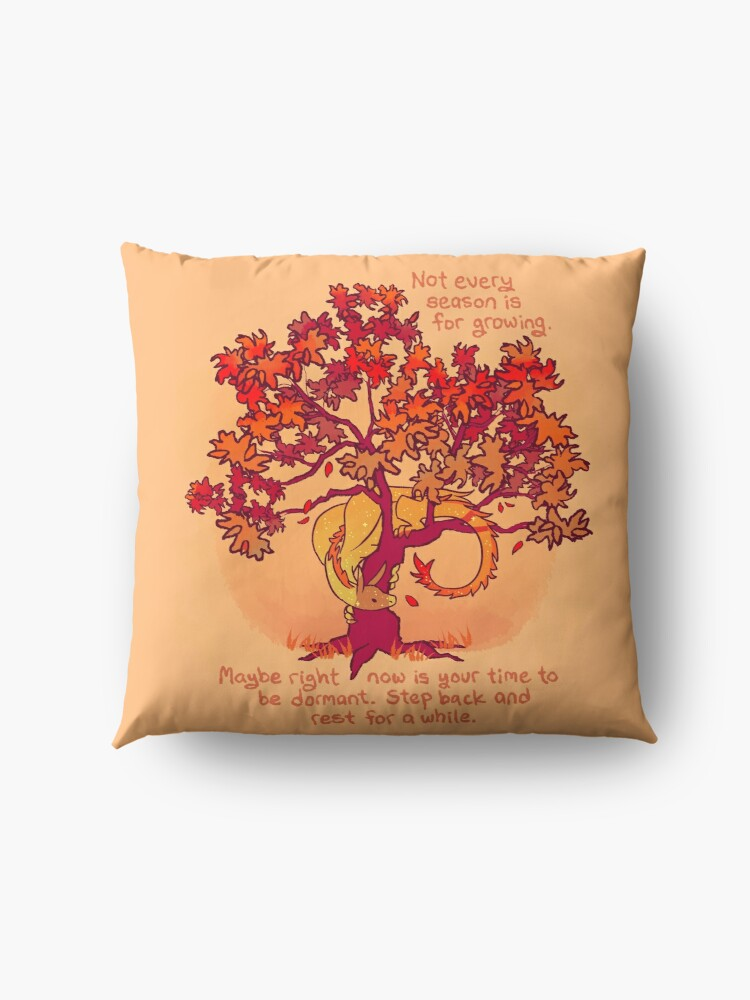 """Alternate view of """"Not Every Season is For Growing"""" Fall Dragon Forest Spirit Floor Pillow"""