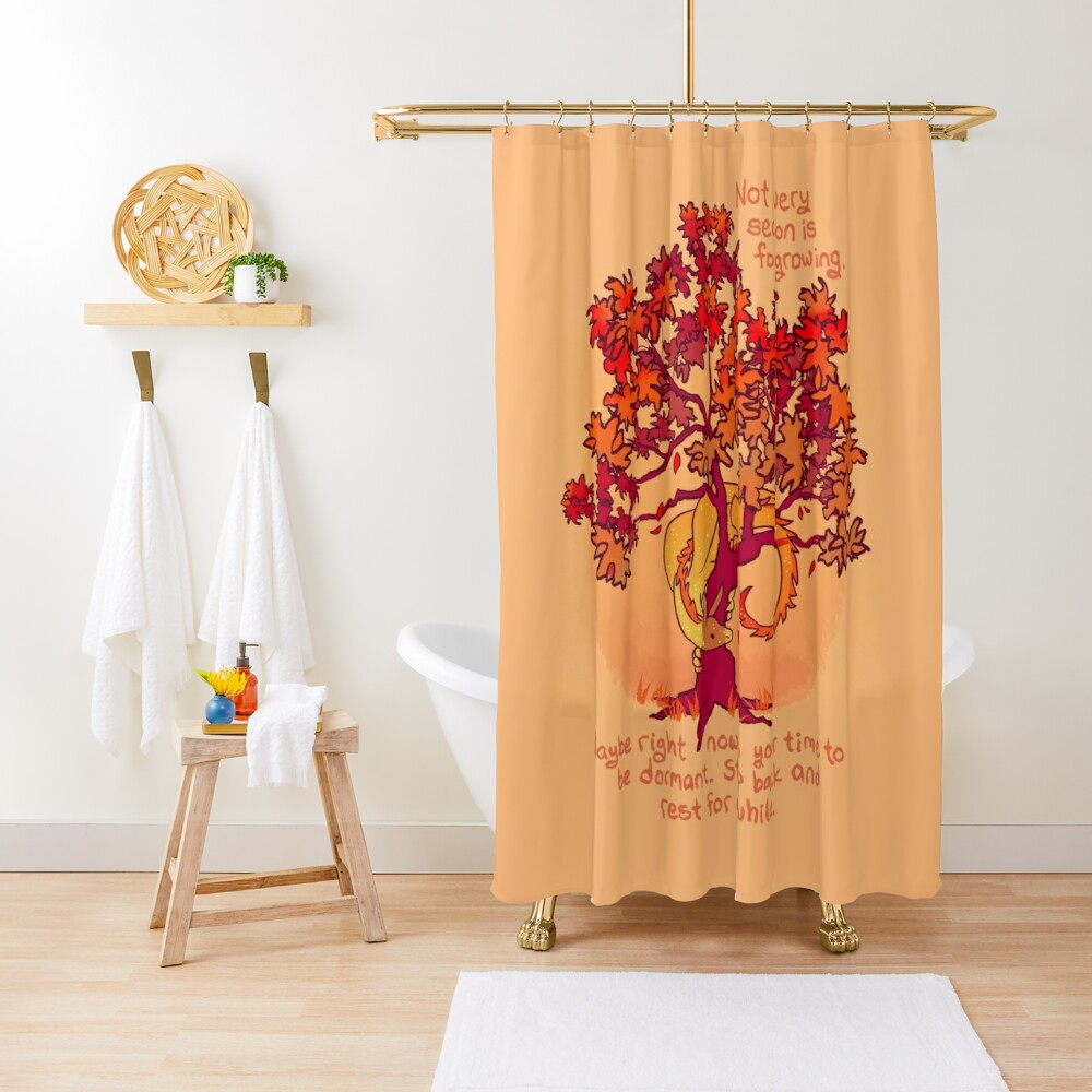 """Not Every Season is For Growing"" Fall Dragon Forest Spirit Shower Curtain"