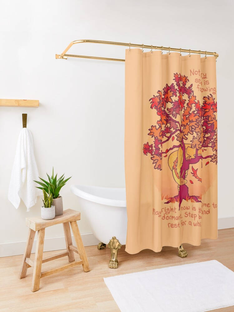 "Alternate view of ""Not Every Season is For Growing"" Fall Dragon Forest Spirit Shower Curtain"