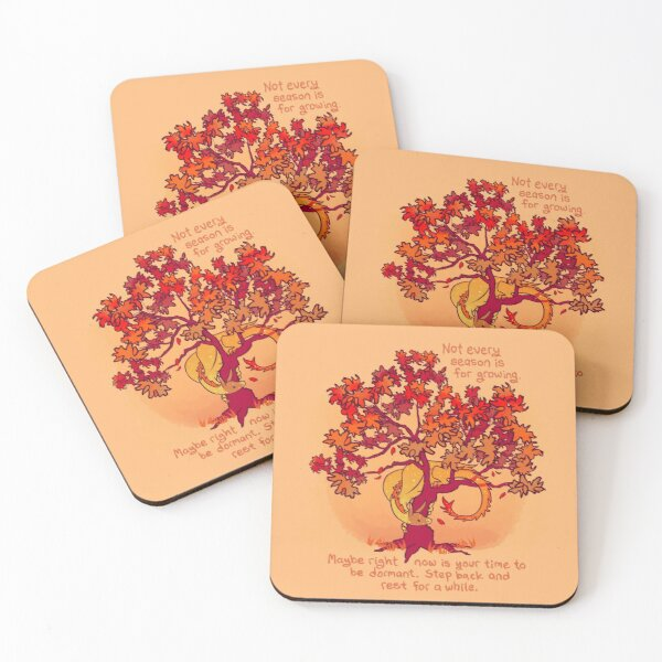 """""""Not Every Season is For Growing"""" Fall Dragon Forest Spirit Coasters (Set of 4)"""