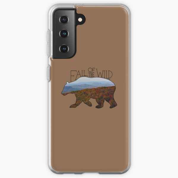 Fall of the Wild Autumn Mountain Wilderness Landscape Bear Silhouette On Brown Samsung Galaxy Soft Case