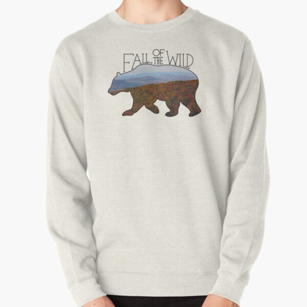 Fall of the Wild Autumn Mountain Wilderness Landscape Bear Silhouette On Brown Pullover Sweatshirt