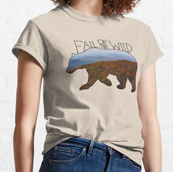 Fall of the Wild Autumn Mountain Wilderness Landscape Bear Silhouette On Brown Classic T-Shirt