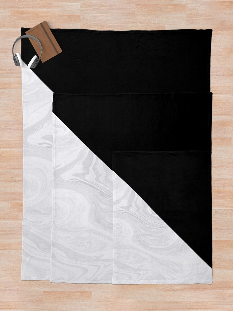 Alternate view of Black and White Marble Texture Throw Blanket