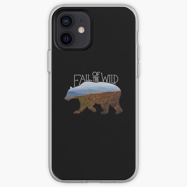 Fall of the Wild Autumn Mountain Wilderness Landscape Bear Silhouette On Black iPhone Soft Case