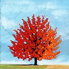 Burst of Red - tree landscape by ria hills