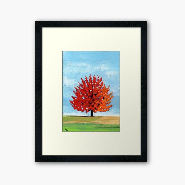 Burst of Red - tree landscape Framed Art Print