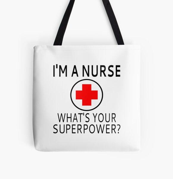Soy una enfermera ¿Cuál es tu superpotencia? Bolsa estampada de tela