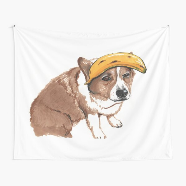Corgi and Banana Tapestry