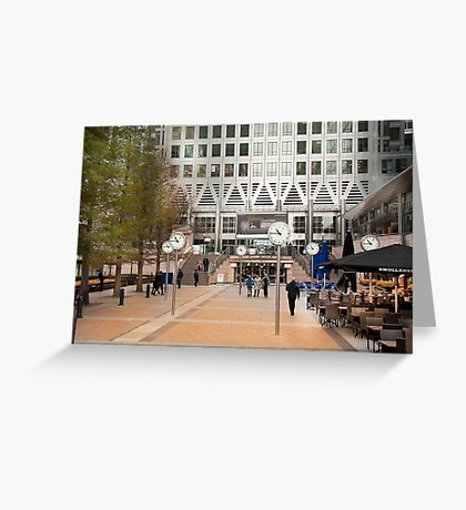 Time Check: Canary Wharf, London, UK. Greeting Card