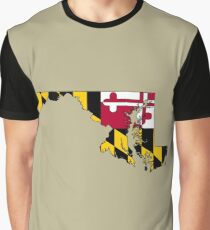 Maryland Map With Maryland State Flag Graphic T-Shirt