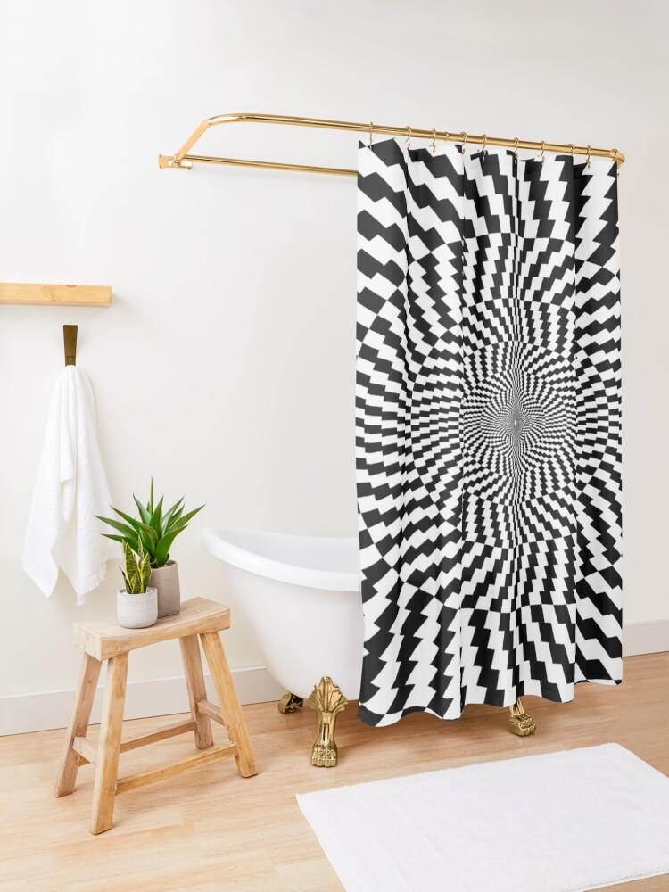Alternate view of #OpArt #VisualArt #IllusionArt #OpticalIllusion #VisualIllusion #CognitiveIllusion  Shower Curtain