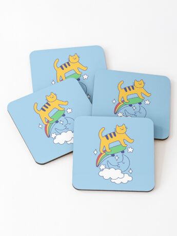 Cat Flying On A Skateboard Coasters