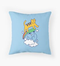 Cat Flying On A Skateboard Throw Pillow