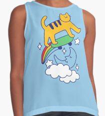 Cat Flying On A Skateboard Sleeveless Top