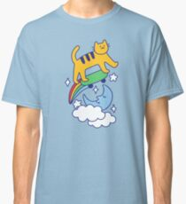 Cat Flying On A Skateboard Classic T-Shirt