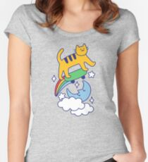 Cat Flying On A Skateboard Fitted Scoop T-Shirt