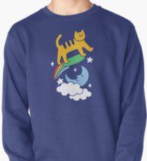 Cat Flying On A Skateboard Pullover Sweatshirt