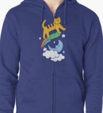 Cat Flying On A Skateboard Zipped Hoodie