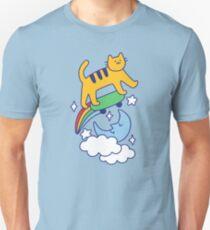 Cat Flying On A Skateboard Slim Fit T-Shirt